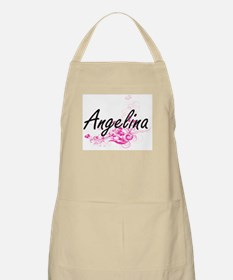 Angelina Artistic Name Design with Flowers Apron