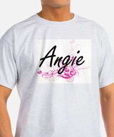 Angie Artistic Name Design with Flowers T-Shirt