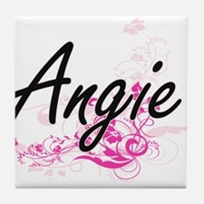 Angie Artistic Name Design with Flowe Tile Coaster