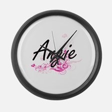Angie Artistic Name Design with F Large Wall Clock