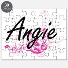 Angie Artistic Name Design with Flowers Puzzle