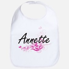 Annette Artistic Name Design with Flowers Bib