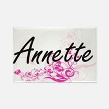 Annette Artistic Name Design with Flowers Magnets