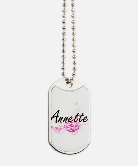 Annette Artistic Name Design with Flowers Dog Tags