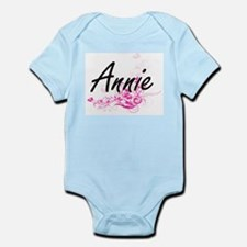 Annie Artistic Name Design with Flowers Body Suit