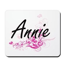 Annie Artistic Name Design with Flowers Mousepad