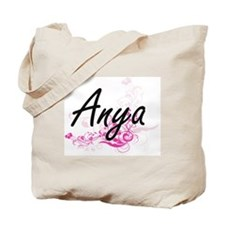 Anya Artistic Name Design with Flowers Tote Bag