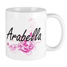 Arabella Artistic Name Design with Flowers Mugs