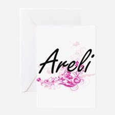 Areli Artistic Name Design with Flo Greeting Cards