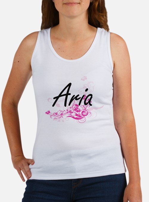 Aria Artistic Name Design with Flowers Tank Top