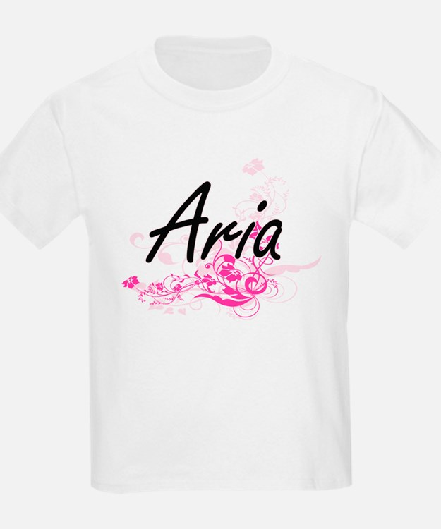Aria Artistic Name Design with Flowers T-Shirt