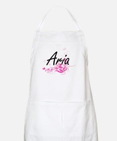 Aria Artistic Name Design with Flowers Apron