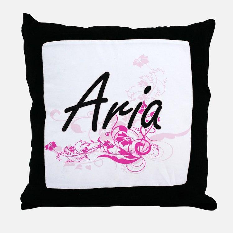 Aria Artistic Name Design with Flower Throw Pillow