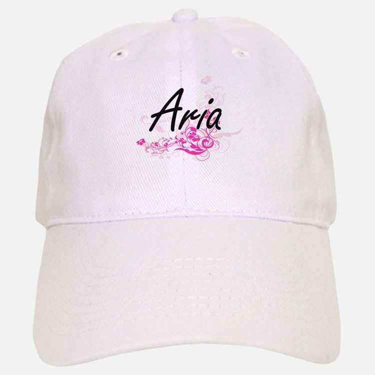 Aria Artistic Name Design with Flowers Baseball Baseball Cap
