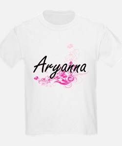 Aryanna Artistic Name Design with Flowers T-Shirt