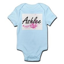 Ashlee Artistic Name Design with Flowers Body Suit