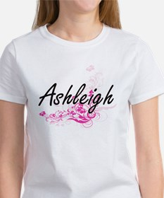 Ashleigh Artistic Name Design with Flowers T-Shirt