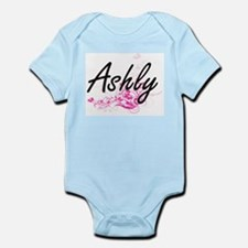 Ashly Artistic Name Design with Flowers Body Suit