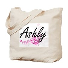 Ashly Artistic Name Design with Flowers Tote Bag
