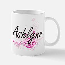 Ashlynn Artistic Name Design with Flowers Mugs
