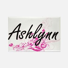 Ashlynn Artistic Name Design with Flowers Magnets