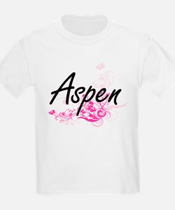 Aspen Artistic Name Design with Flowers T-Shirt