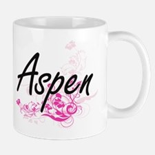 Aspen Artistic Name Design with Flowers Mugs