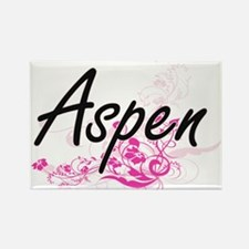 Aspen Artistic Name Design with Flowers Magnets