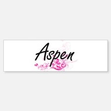 Aspen Artistic Name Design with Flo Bumper Bumper Bumper Sticker