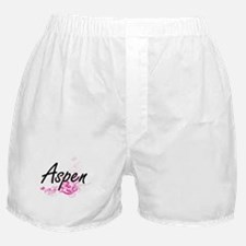 Aspen Artistic Name Design with Flowe Boxer Shorts