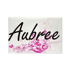 Aubree Artistic Name Design with Flowers Magnets