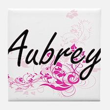 Aubrey Artistic Name Design with Flow Tile Coaster