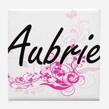 Aubrie Artistic Name Design with Flow Tile Coaster