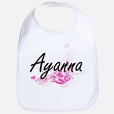 Ayanna Artistic Name Design with Flowers Bib