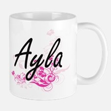 Ayla Artistic Name Design with Flowers Mugs