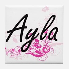 Ayla Artistic Name Design with Flower Tile Coaster