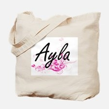 Ayla Artistic Name Design with Flowers Tote Bag