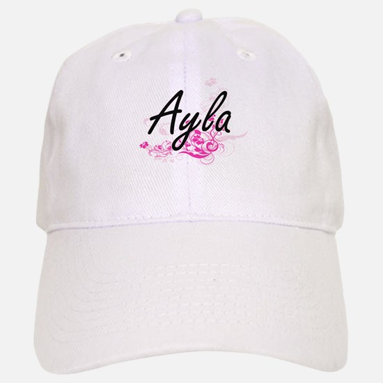 Ayla Artistic Name Design with Flowers Cap