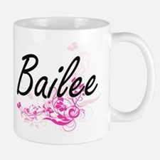 Bailee Artistic Name Design with Flowers Mugs