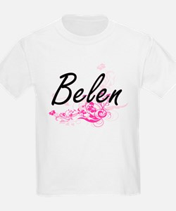 Belen Artistic Name Design with Flowers T-Shirt