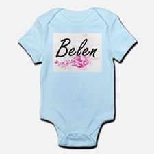 Belen Artistic Name Design with Flowers Body Suit