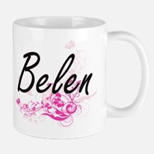Belen Artistic Name Design with Flowers Mugs