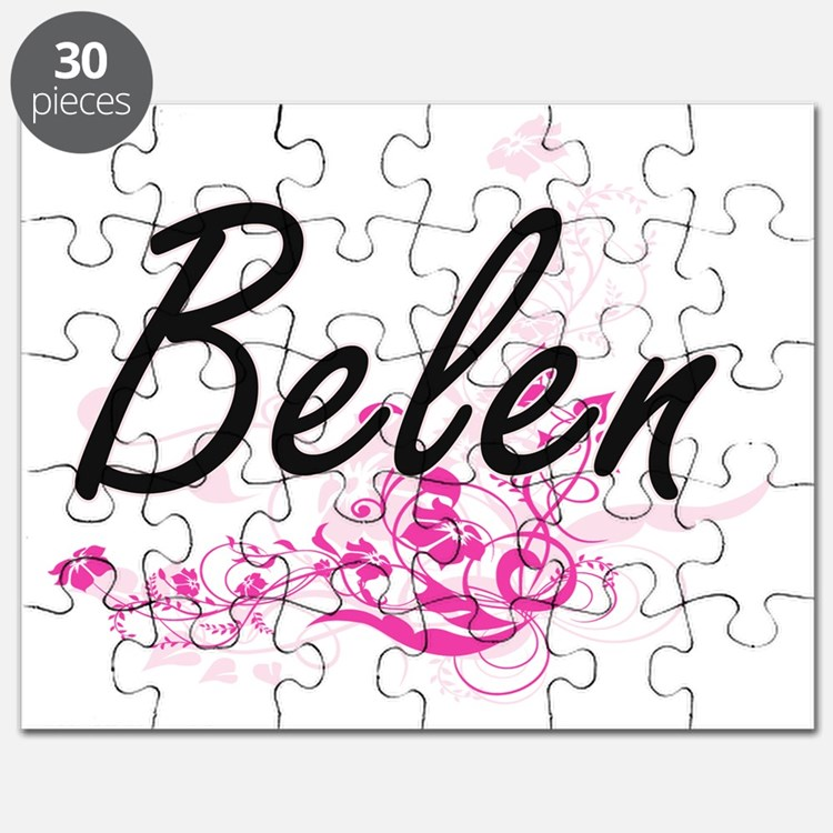 Belen Artistic Name Design with Flowers Puzzle