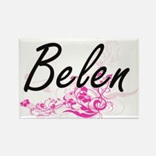 Belen Artistic Name Design with Flowers Magnets