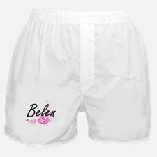 Belen Artistic Name Design with Flowe Boxer Shorts