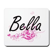 Bella Artistic Name Design with Flowers Mousepad