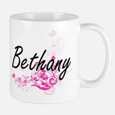 Bethany Artistic Name Design with Flowers Mugs