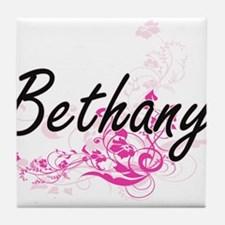 Bethany Artistic Name Design with Flo Tile Coaster
