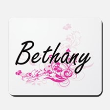 Bethany Artistic Name Design with Flower Mousepad
