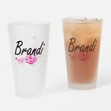 Brandi Artistic Name Design with Fl Drinking Glass